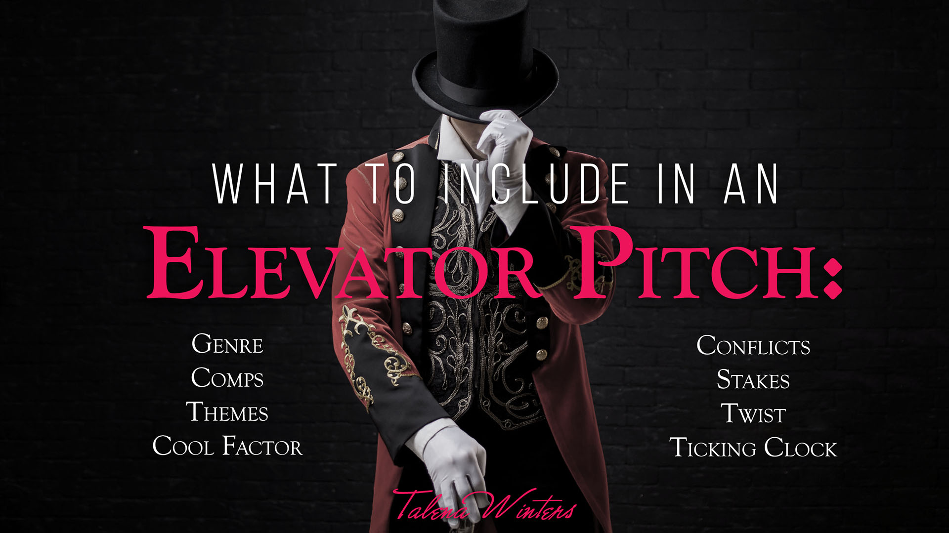 What to include in an Elevator Pitch by Talena Winters.
