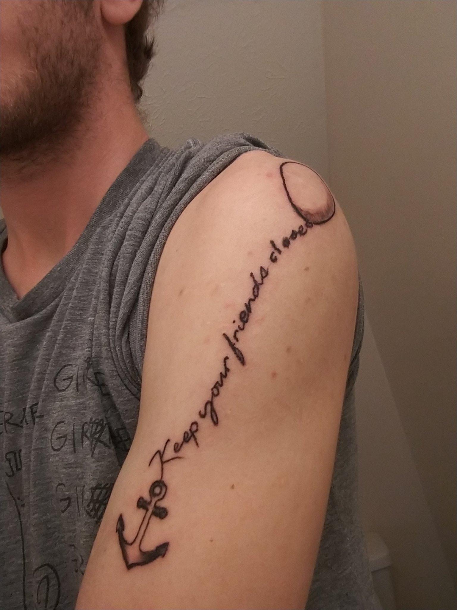 Keep Your Friends Close  on Noah Fischer's arm.