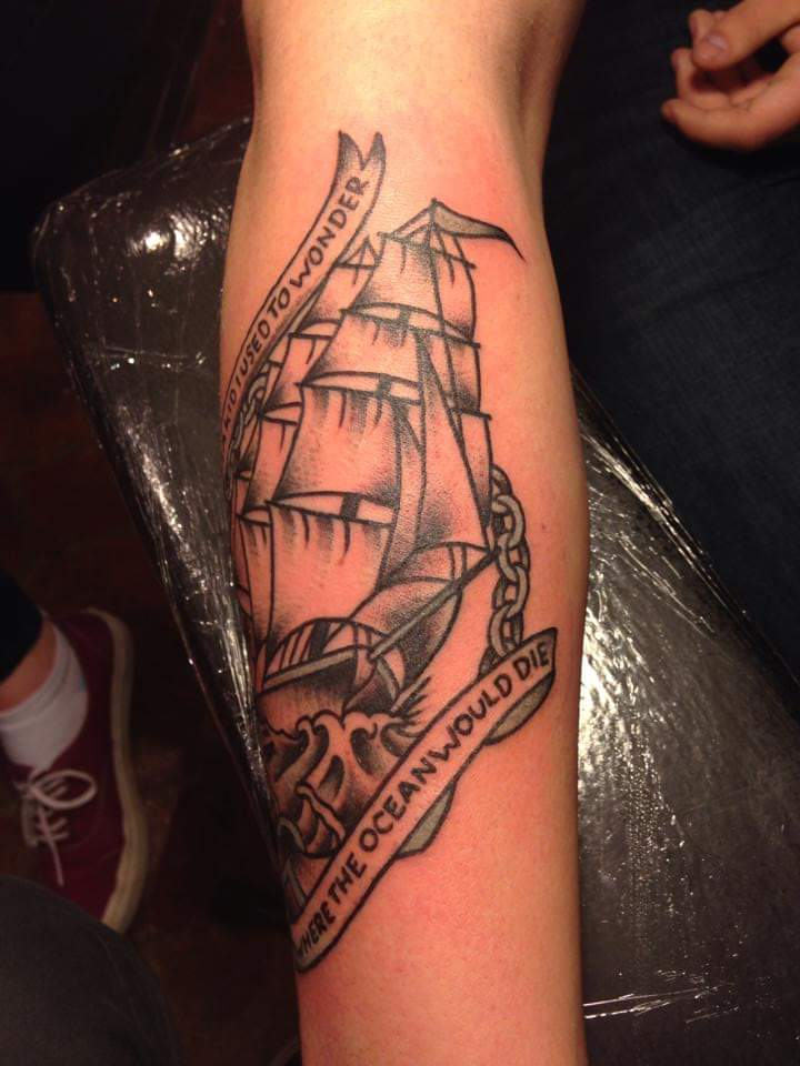 """""""As a kid i used to wonder where the ocean would die...""""  tattoo on thelaserluke"""