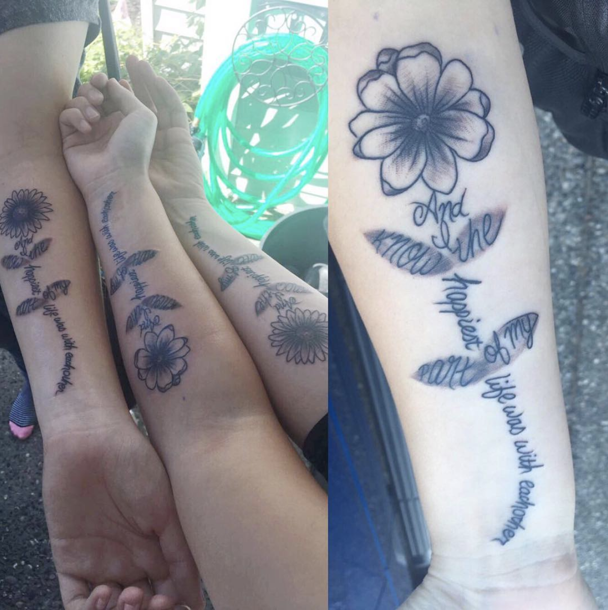 matching Keep Your Friends Close tattoos on three best friends.