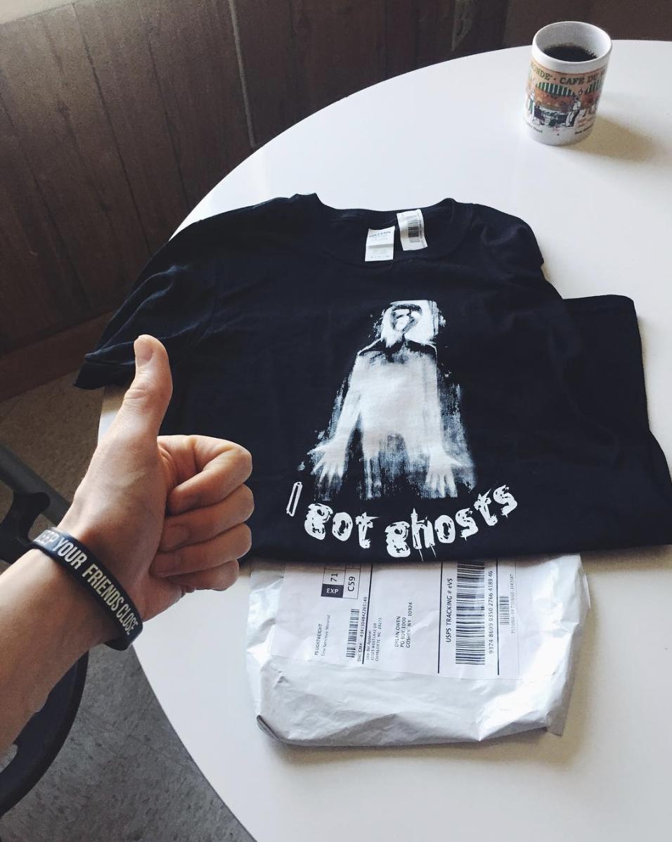 homemade I Got Ghosts t-shirt. done by   https://www.instagram.com/kbfoto615/   .