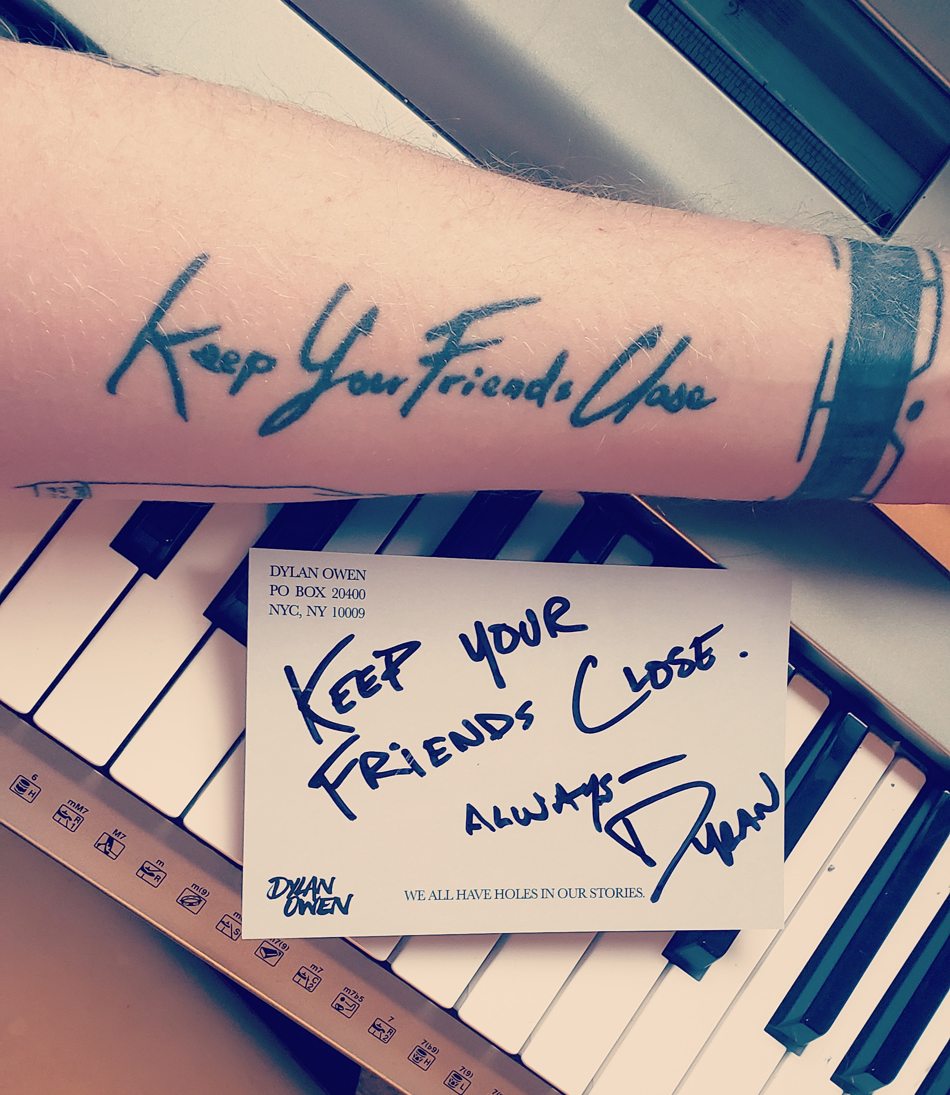 the first ever handwritten tattoo I did. for my man Joey Drees.