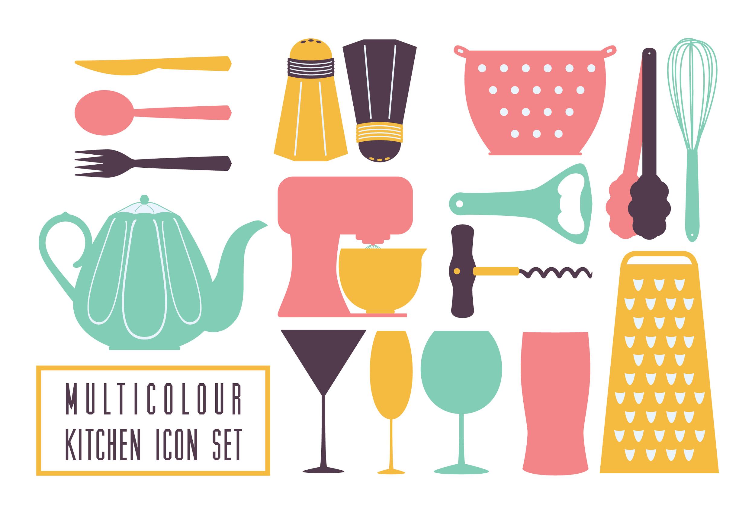 Multicolour Kitchen Icon Set