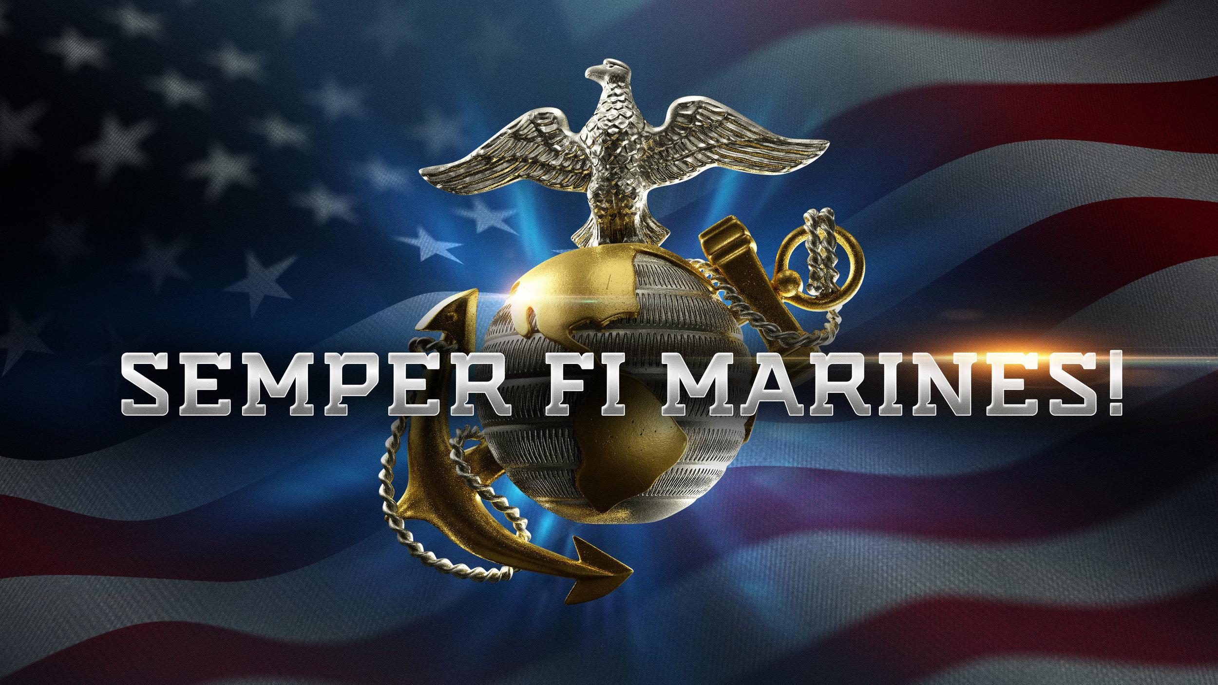 Marines Crest with Typography - B1