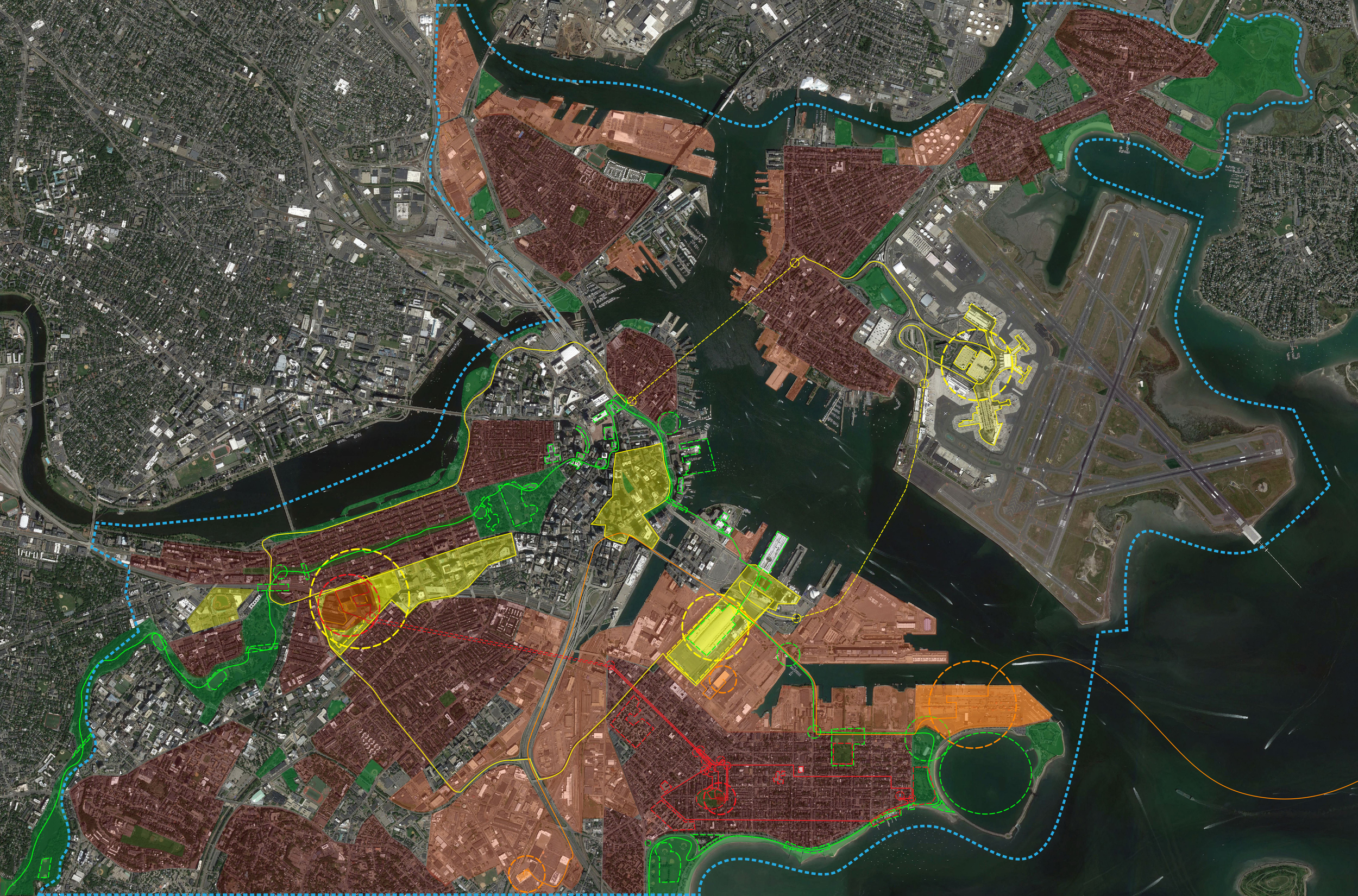 Composite character narratives and hyper-worlds map of Boston