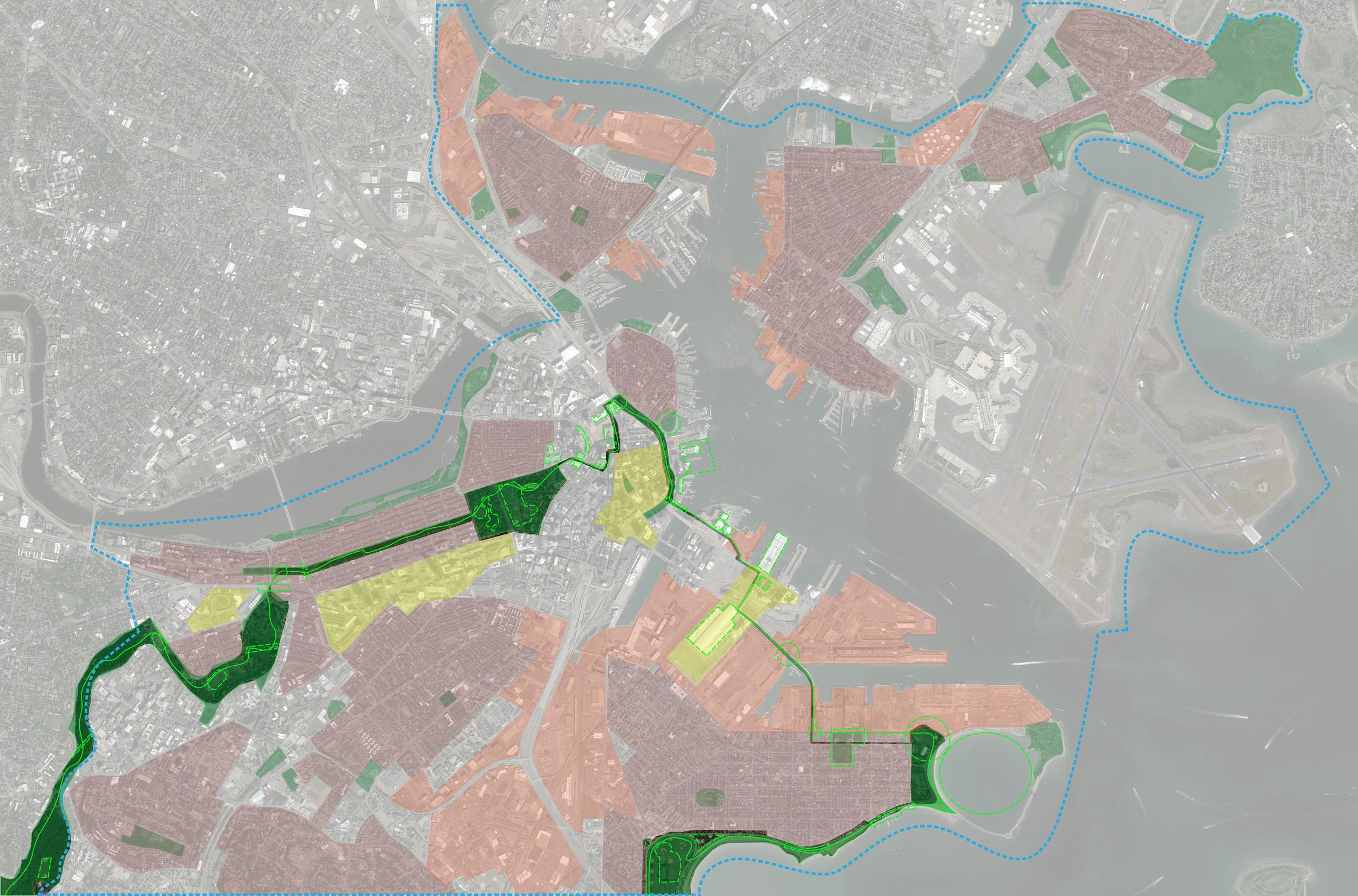Biker (recreational) narrative on hyper-world map of Boston