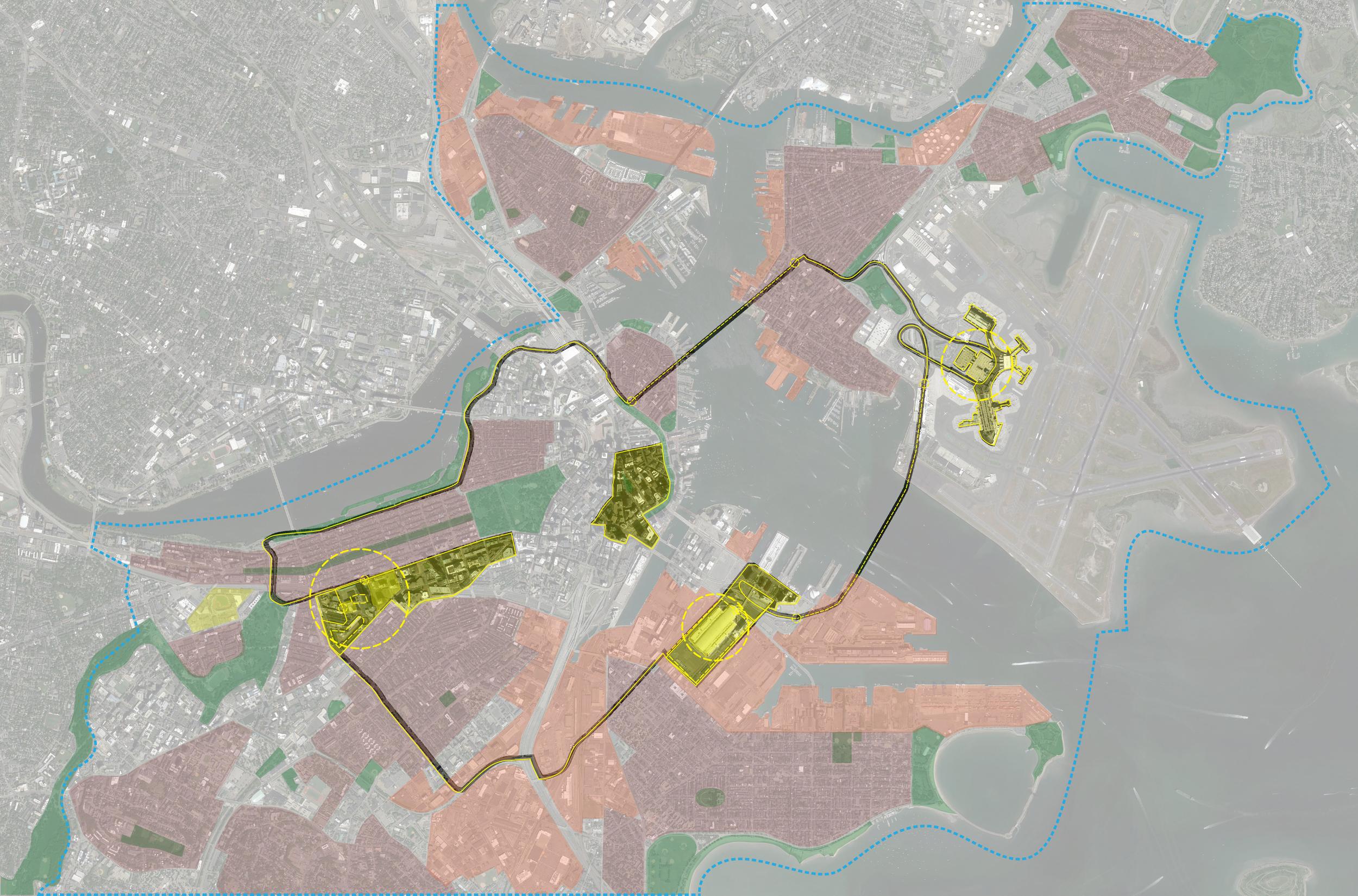 Businessman (commercial)narrative on hyper-world map of Boston