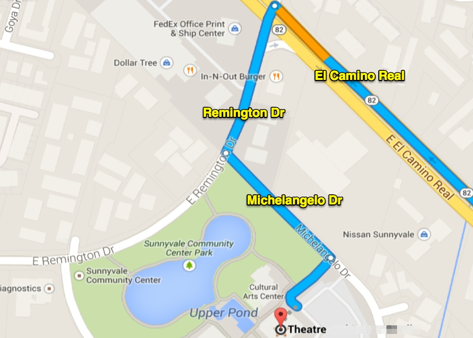 The correct directions to Sunnyvale Theatre