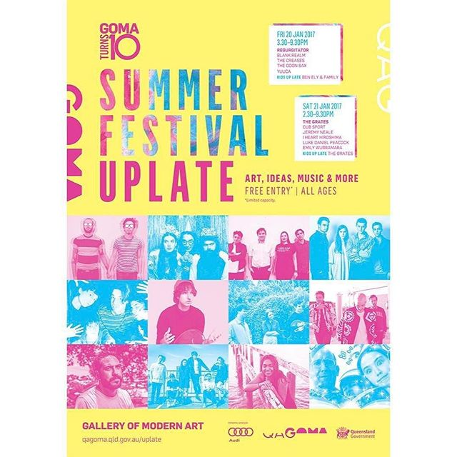 We're playing Summer Festival Up Late for @qagoma 🖤 A weekend of free performances from iconic and up-and-coming Brisbane bands, including  special performances for kids! Friday 20 & Saturday 21 January • we've invented a child friendly version of ourselves called The Clap Clap Club for our children's show 2:30pm Sat the 21st! #GOMA10