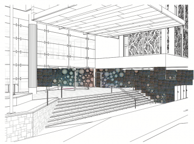 Dani Marti,  Midden  (concept drawing/work in progress), Newcastle Courthouse, NSW, 2014.