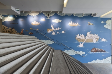 Guan Wei,  The Journey to Australia , 2013, synthetic polymer paint on wall, commissioned by the Museum of Contemporary Art.