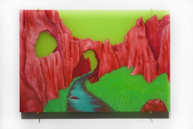 Tracy Sarroff,  The Crimson Arch , 2013, oil paint on Perspex, 56 x 83 cm