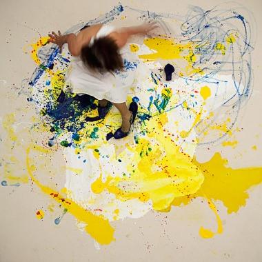 Julie Rrap,  Loaded: Blue #1 , 2012, digital print, face-mounted on Perspex, 126 x 126cm.