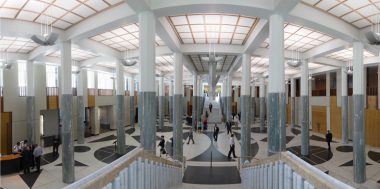 Anne Zahalka,  Marble Foyer – Parliament House, 2014 , 2014, inkjet print, 80 x 160cm, Parliament House Art Collection, Canberra.