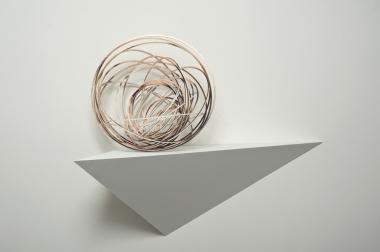 Justine Khamara,  Orbital spin trick #4 , 2013, UV print on hoop pine, 50x50x50cm.