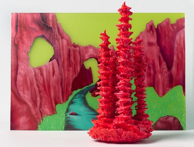 Tracy Sarroff,    The Crimson Arch , oil paint on perspex,  2013,  56 x 83 cm, installed with  Stalagmite , wood expanding foam, paint, epoxy resin, 56x23x26cm, 2012.