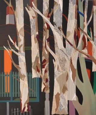 Phaptawan Suwannakudt,  Bhava 11 , acrylic and vegetation fiber collage on canvas, 120 x 100cm, 2013.