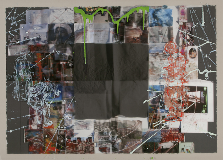 LYNDELL BROWN CHARLES GREEN    Lesson Plan #2  2014 127 x 178 cm oil and acrylic on digital print on duraclear film
