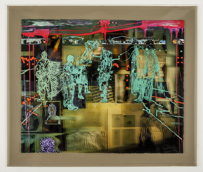 LYNDELL BROWN CHARLES GREEN    War and Peace #17: The Voice  2014 110 x 140 cm oil and acrylic on digital print on duraclear film