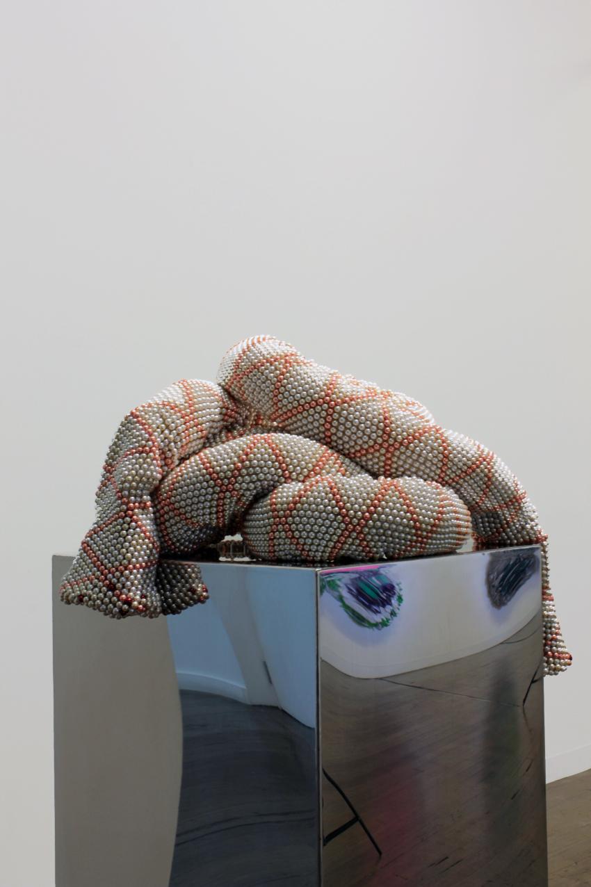 DANI MARTI     Mock Captain  2014 glass beads and rope on aluminum plinth 50 x 50 cm
