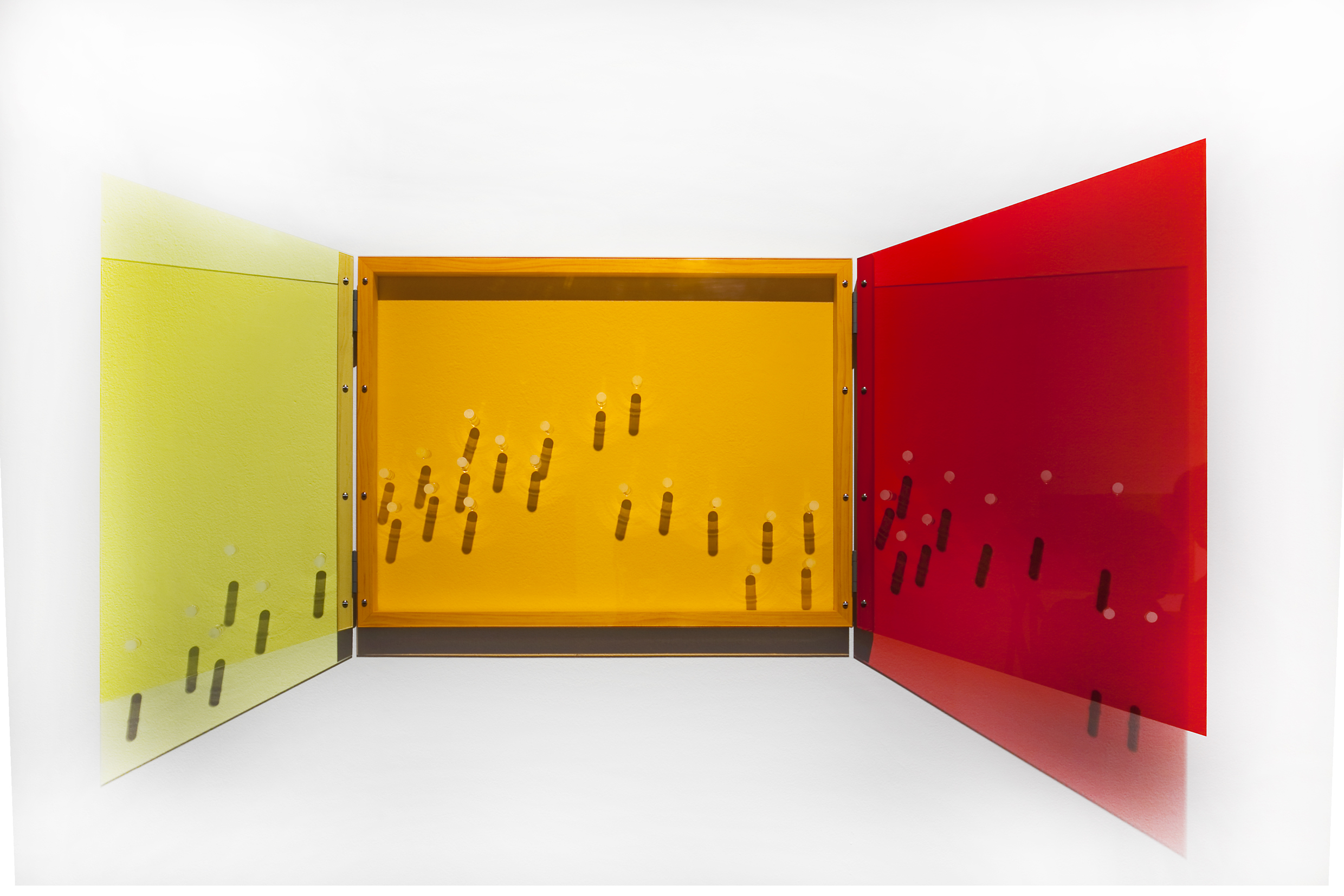 TRACY SARROFF     Window: yellow, orange, red  2013 Perspex, wood, screws, hinges 95 x 130 cm
