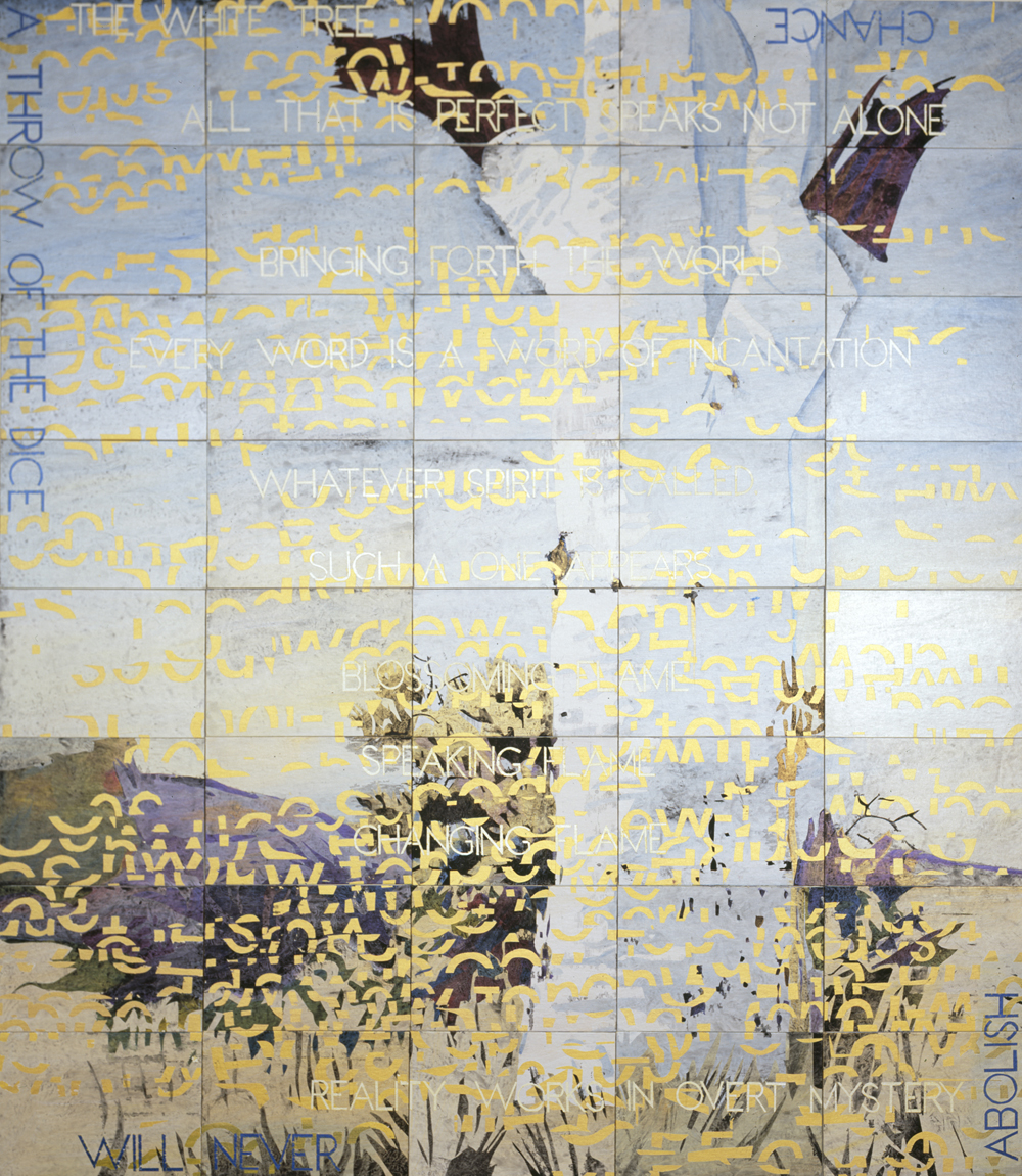 IMANTS TILLERS     The White Tree  Acrylic, gouache on 40 canvas boards  203 x 177.8 cm