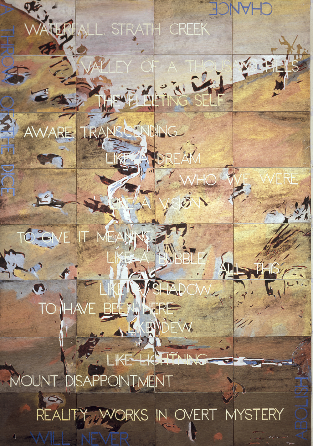 IMANTS TILLERS     Waterfall Variation II  2012 Acrylic, gouache on 32 canvas boards 203 x 142 cm