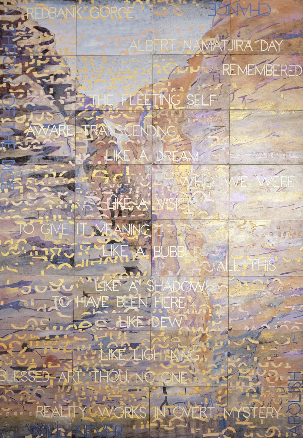 IMANTS TILLERS     Redbank Gorge  2013 Acrylic, gouache on 32 canvas boards 203 x 142 cm