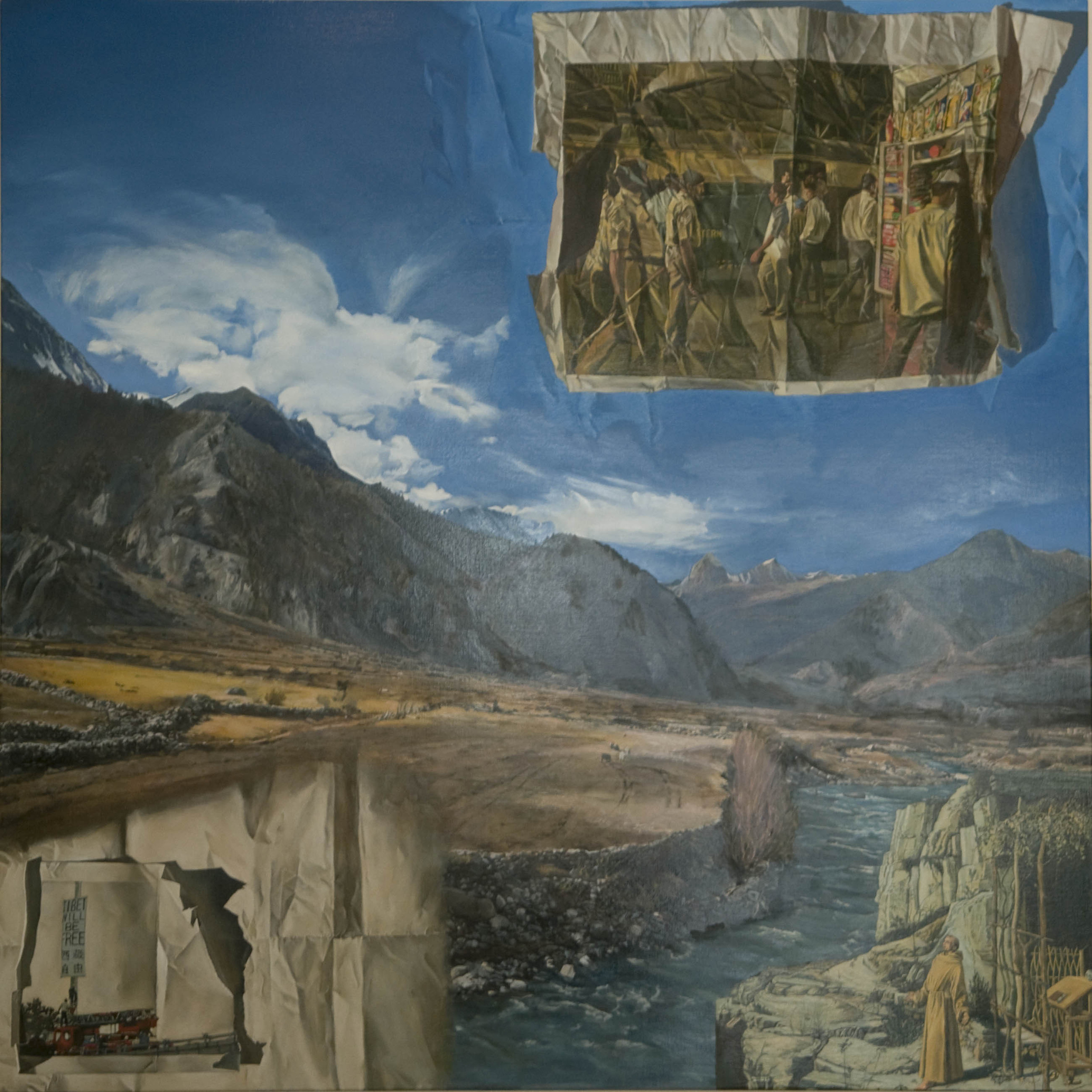 LYNDELL BROWN CHARLES GREEN     Manang (Tibet will be Free)  2011 Oil on linen 121 x 121 cm