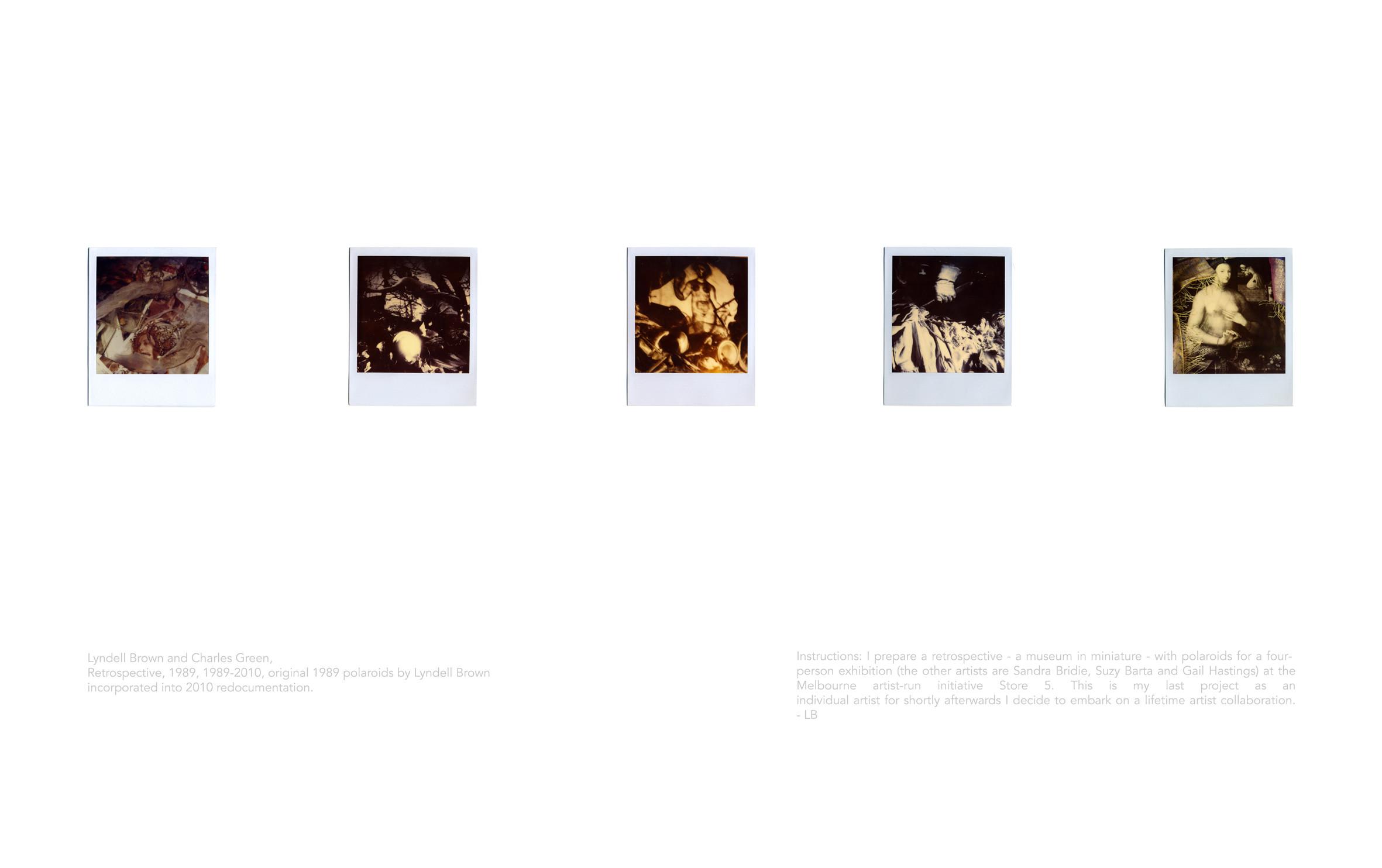 LYNDELL BROWN CHARLES GREEN     Retrospective, 1989. Retrospective Version  1989-2010 Inkjet print on rag paper, original 1989 polaroids by Lyndell Brown incorporated into 2010 redocumentation 90 x 65.5 cm