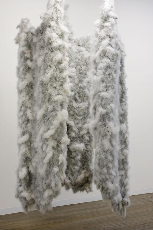 DANI MARTI    Portrait of Joni Waka as a fallen Angel crying behind the wall  2006-2011 Feathers