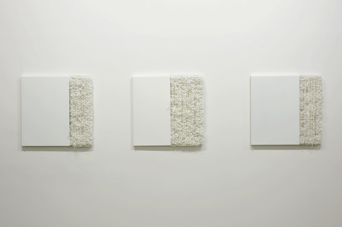DANI MARTI     Book of Miracles  2011 Highly industrial gloss steel and broken weave 60 x 60 cm