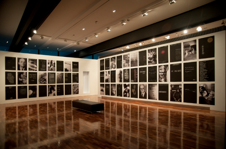 JOHN YOUNG     Safety Zone , installation view 2011 60 works, digital prints on photographic paper and chalk on blackboardpainted archival cotton paper 320 x 1590 cm