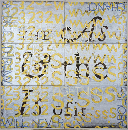 IMANTS TILLERS     This is of it IV  2010 Acrylic, gouache on 6 canvas boards  76 x 76 cm