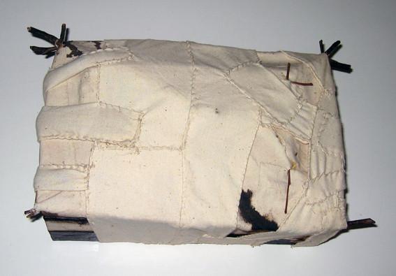 JOHN DAVIS     Untitled  1985 Twigs, Calico, Bituminous Paint, Cotton Threat, Timber 32 x 7 cm