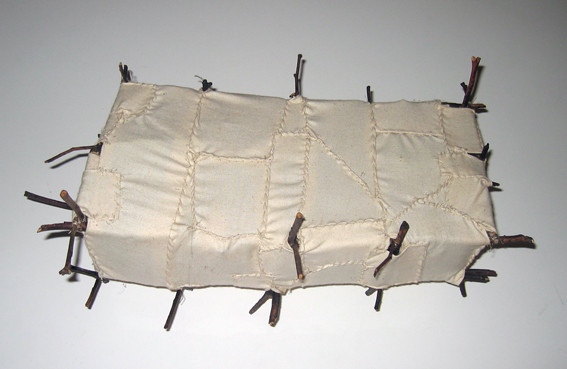 JOHN DAVIS     Sculpture  1992 Twigs, Calico, Bituminous Paint, Cotton Thread 35 x 12 cm