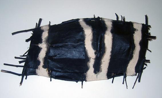 JOHN DAVIS   Component of  I  nventory, 49 Fish  1992 Twigs, Calico, Bituminous Paint, Cotton Thread 17 x 8 cm