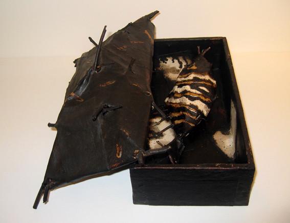 JOHN DAVIS    Component of  Inventory, 49 Fish  1990 Twigs, Calico, Bituminous Paint, Cotton Thread   38 x 23 cm