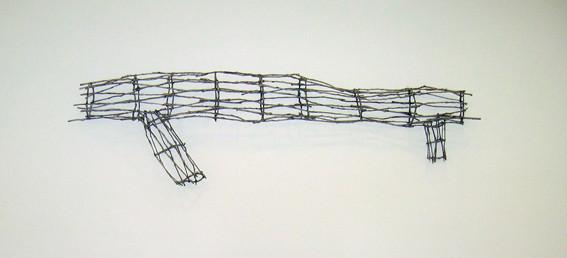 JOHN DAVIS     Presence  1998 Twigs, Calico, Bituminous Paint, Cotton Thread 330 x 920 cm