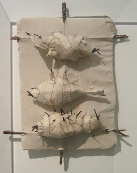 JOHN DAVIS     Three Fish  1992 Twigs, Calico, Bituminous Paint, Cotton Thread 39 x 50 cm