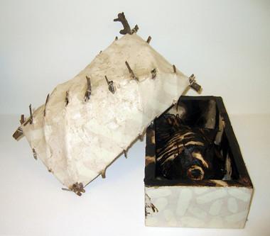 JOHN DAVIS    Component of  Inventory, 49 Fish  1990 Twigs, Calico, Bituminous Paint, Cotton Thread 23 x 38 cm