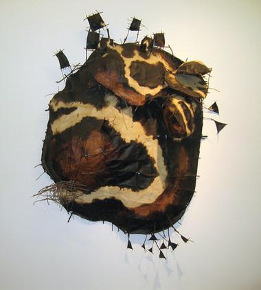 JOHN DAVIS    Lancefield Revisited    1989   Twigs, Calico, Bituminous Paint, Cotton Thread   170 x 120 cm