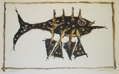 JOHN DAVIS    Nomad on Paper, Four    1994   Bondcrete and bituminous paint   46 x 63 cm
