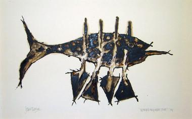 JOHN DAVIS    Nomad On Paper, Two    1994   Bondcrete and bituminous paint   46 x 63 cm