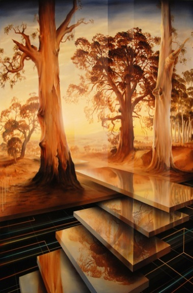 PETER DAVERINGTON    Ascending into the light - After Heysen    2009   Oil and Enamel on Canvas   138 x 91 cm