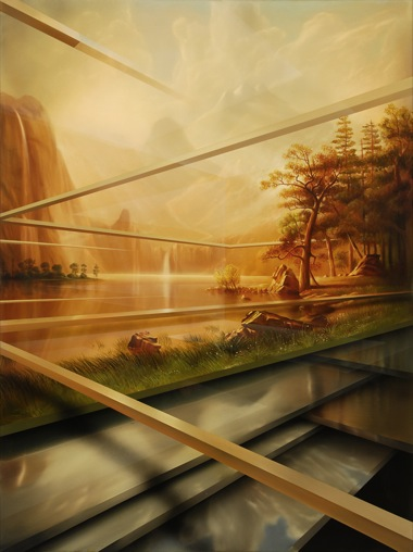 PETER DAVERINGTON   Paradise Remix - In the Mountains with Albert Bierstadt    2009   Oil and Enamel on Canvas   153 x 91 cm
