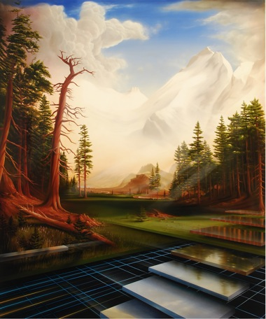 PETER DAVERINGTON    Welcome to the Pleasure Dome - A Homage to Bierstadt and the death of a frontier    2009   Oil and Enamel on Canvas   183 x 153 cm
