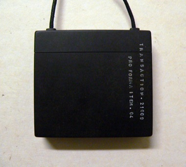 JAMES MCALLISTER (GUEST ARTIST)    Black Box. (Containing Small Cotton Veil)    2009   Black bakelite/cotton/linen thread   60 x 65 mm