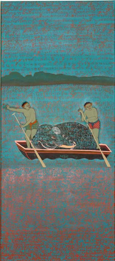 PHAPTAWAN SUWANNAKUDT    THREE WORLDS 2    2008   acrylic on canvas 135 x 65   cm