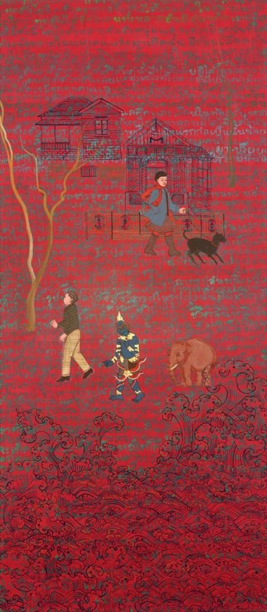 PHAPTAWAN SUWANNAKUDT    THREE WORLDS 8    2009   acrylic on canvas 135 x 65   cm